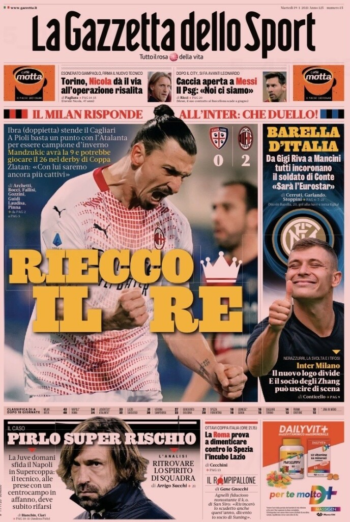 PRYDER FØRSTESIDA: - Kongen er tilbake, melder storavisa La Gazzetta dello Sport i dag.