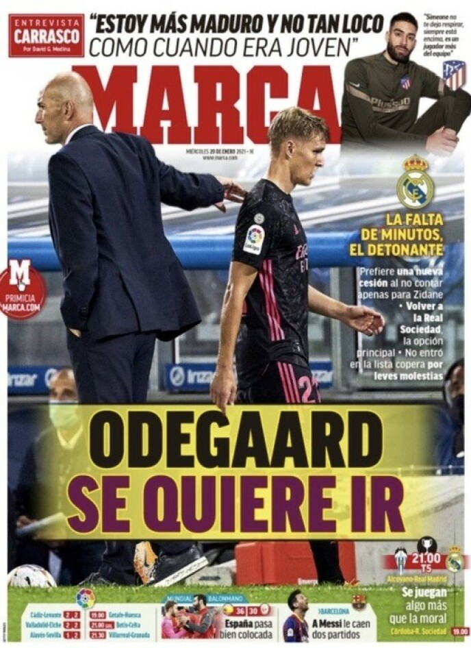 PÅ FØRSTESIDA: - Ødegaard vil gå, skriver Marca.