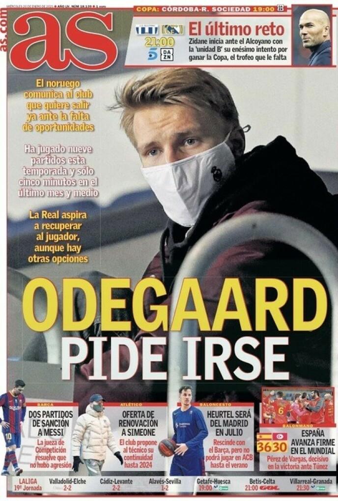 PÅ FØRSTESIDA: - Ødegaard ber om å få dra, skriver AS.