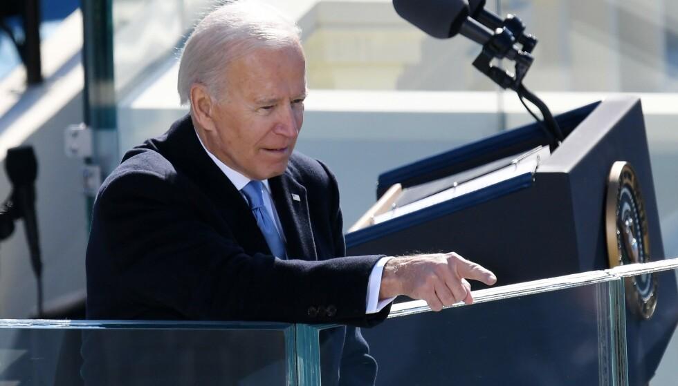 TATT I ED: Joe Biden er USAs president. Han har en formidabel oppgave foran seg. Foto: OLIVIER DOULIERY / AFP