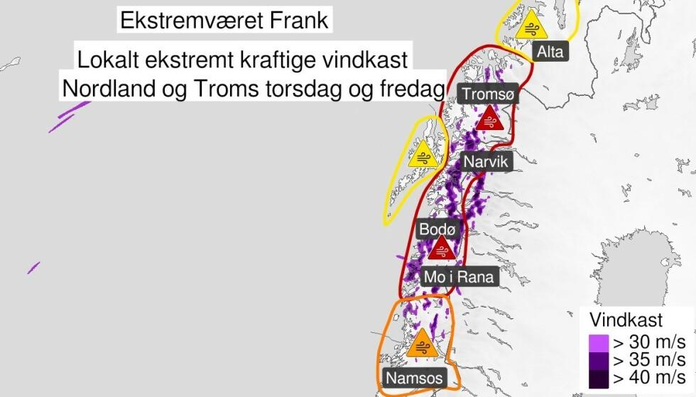 EKSTREMT: I 13.00-tida i dag vil vinden virkelig begynne å ta seg opp, advarer Meteorologisk institutt. Ekstremværet «Frank» herjer torsdag formiddag i Nordland og Trøndelag. Det er også ventet at Troms og deler av Finnmark vil bli rammet av uværet. Foto: Meteorologisk institutt