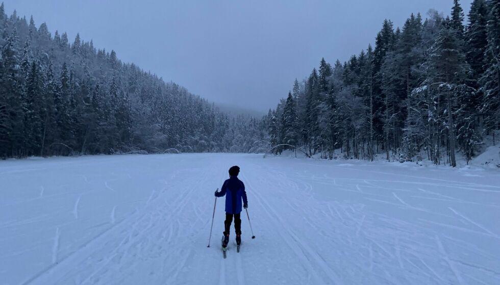 ØSTMARKA: Mandag, magisk stemning på vei fra Vangen i Østmarka. Foto: Geir Ramnefjell
