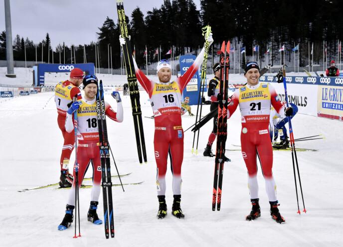 HELNORSK I LAHTI: Emil Iversen (i midten) vant foran Sjør Røthe (t.v.) og Pål Golberg. Foto: NTB