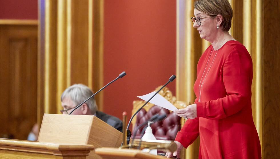 STOPPET: Stortingspresident Tone Wilhelmsen Trøen brukte sin dobbeltstemme til å gå imot offentliggjøring. Foto: Morten Brakestad / Stortinget / NTB
