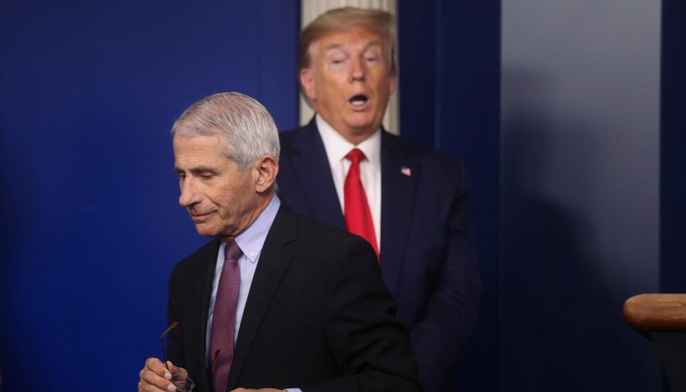 IKKE PERLEVENNER: Topp-epidemiolog Anthony Fauci snakker nå ut om perioden under Donald Trump. Foto: AP Photo/Alex Brandon / NTB