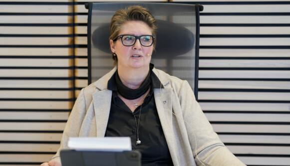 HOLDER PRESSEKONFERANSE: Ordfører Hanne Opdan (Ap) i Nordre Follo kommune. Foto: Fredrik Hagen / NTB