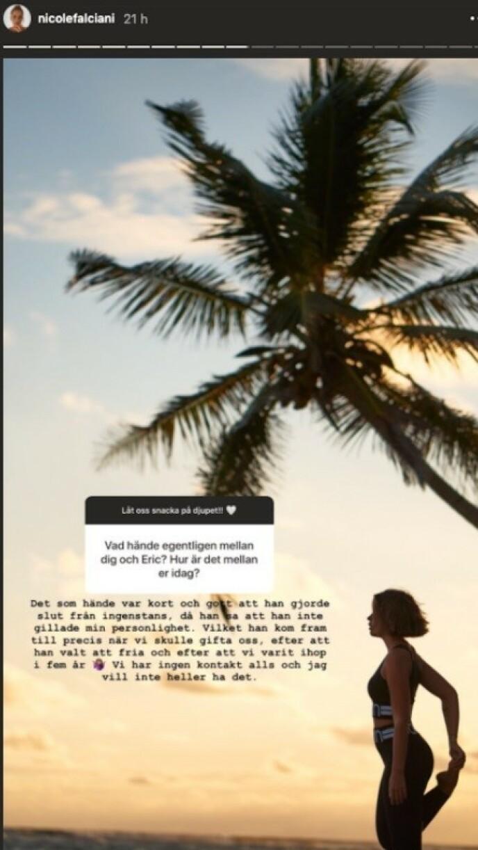 UT AV DET BLÅ: Nicole Falciani hevdet at Eric Saade ikke likte personligheten hennes. Foto: Skjermdump fra Instagram