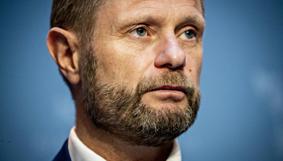KAMP MOT SMITTEN: Helse- og omsorgsminister Bent Høie på regjeringens pressekonferanse om koronasituasjonen. Foto: Bjørn Langsem / Dagbladet