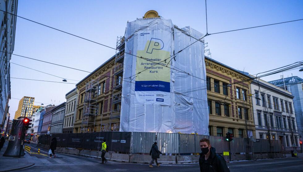 BYGGEPROSJEKT: Pressens hus er under arbeid i Skippergata i Oslo. Foto: Håkon Mosvold Larsen / NTB