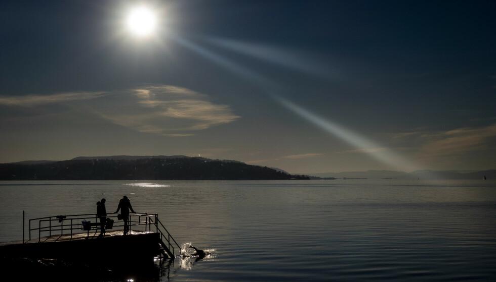 BADENYMFE: En ivrig vinterbader kaster seg i sjøen ved Hukodden i Oslo. Foto: Bjørn Langsem / Dagbladet
