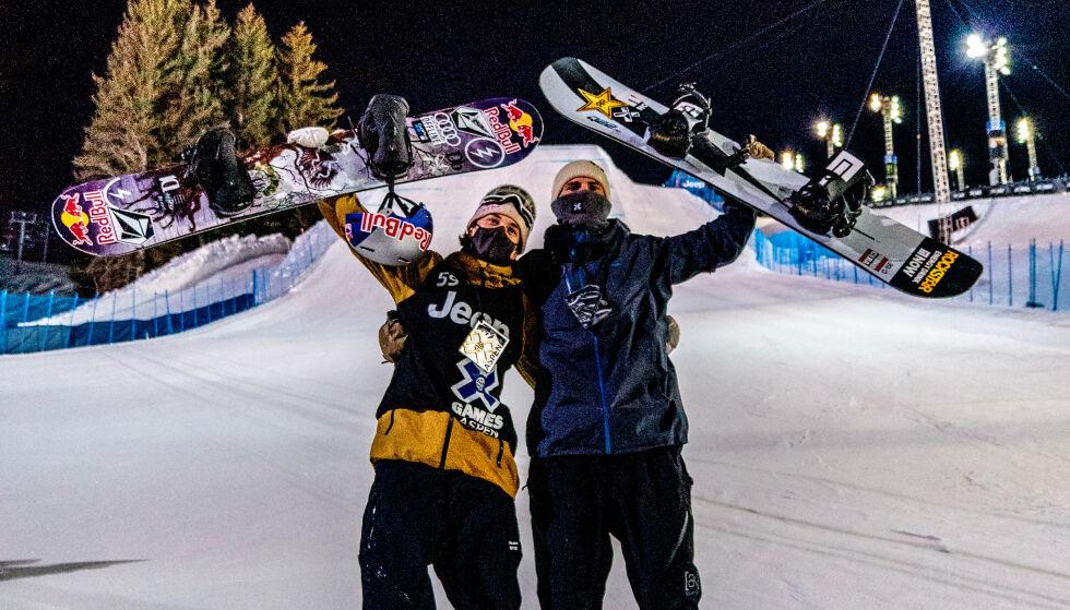 SAMMEN PÅ PALLEN: Marcus Kleveland (t.v.) og Mons Røisland endte på henholdsvis første og andre plass under Big Air-finalen i X Games i natt. Foto: Christoffer Schach
