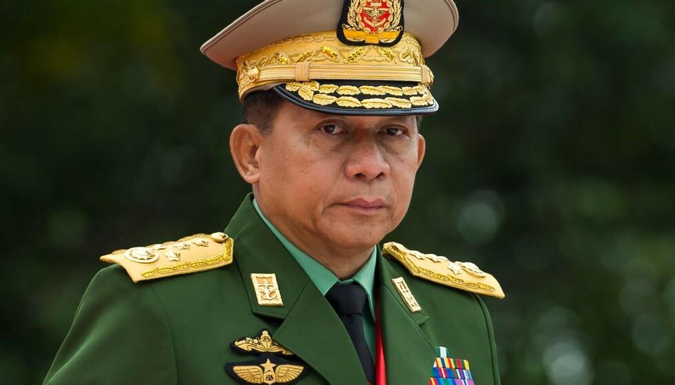 ALL MAKT: Nå sitter general og forsvarssjef Min Aung Hlaing med makta i Myanmar. Foto: AFP / NTB