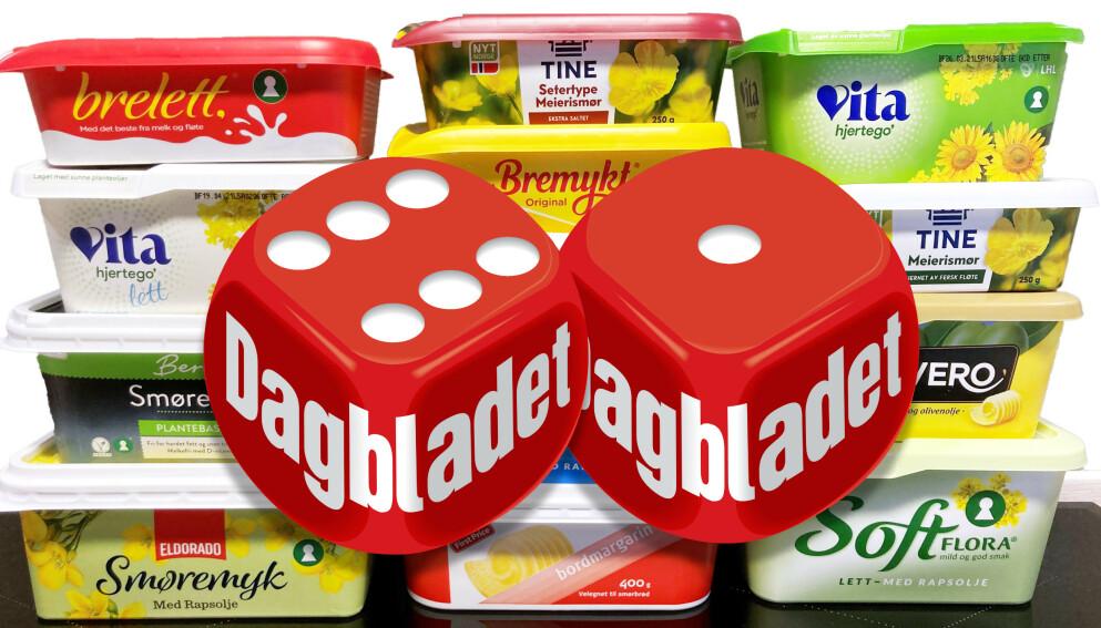 TEST AV SMØR OG MARGARIN: Dagbladet har sjekket næringsinnholdet på 13 forskjellige smør- og margarintyper. Foto: Jenny Mina Rødahl
