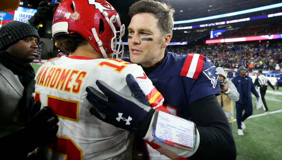 LEDERSTJERNER: Tom Brady og Patrick Mahomes skal kjempe om Super Bowl-triumf på søndag. Foto: Maddie Meyer/Getty Images/AFP