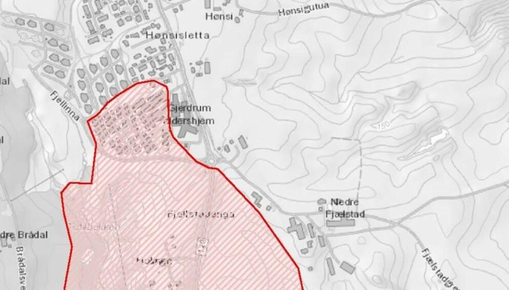 NYTT KART: Dette kartet er basert på NVEs vurderinger av hvilke områder som det nå er trygt å flytte tilbake til. Illustrasjon: NVE