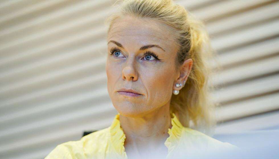 KOMMUNEOVERLEGE: Kerstin Anine Johnsen Myhrvold i Nordre Follo rapporterer om synkende smittetall i kommunen, og at en stadig lavere andel av dem som tester seg, tester positivt. Foto: Fredrik Hagen / NTB