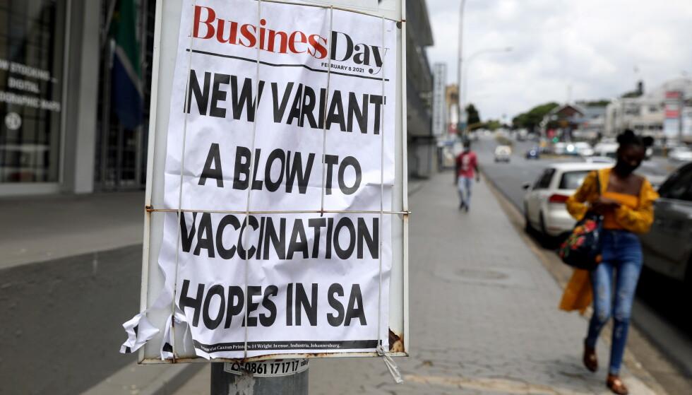 SKUMMEL VARIANT: En mer smittsom virusvariant, først oppdaget i Sør-Afrika, er blitt det dominerende coronaviruset i Sør-Afrika. Foto: REUTERS/NTB