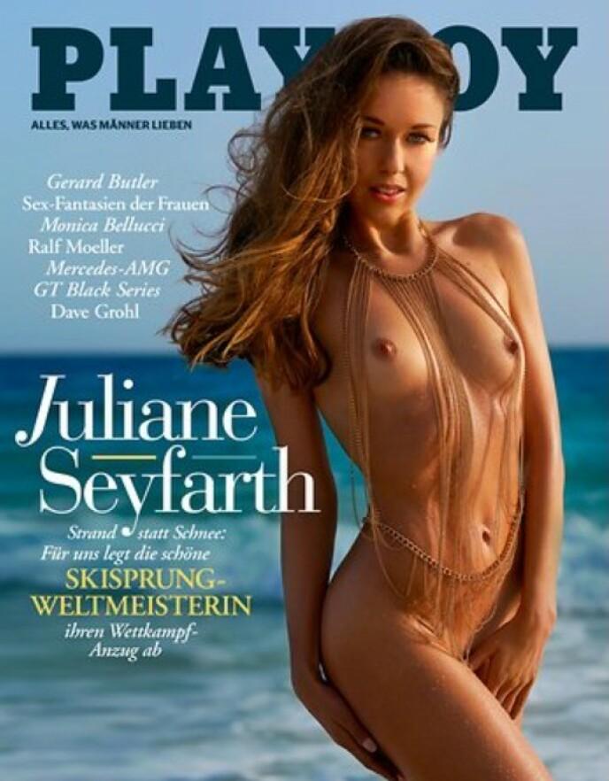 VEKKER OPPSIKT: Siste utgave av tyske Playboy. På coveret: Skihopperen Juliane Seyfarth.