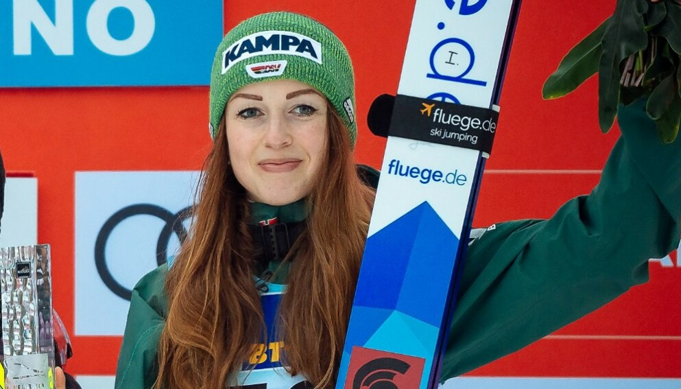 MERITTERT: Skihopper Juliane Seyfarth har to VM-gull for lag. Foto: NTB