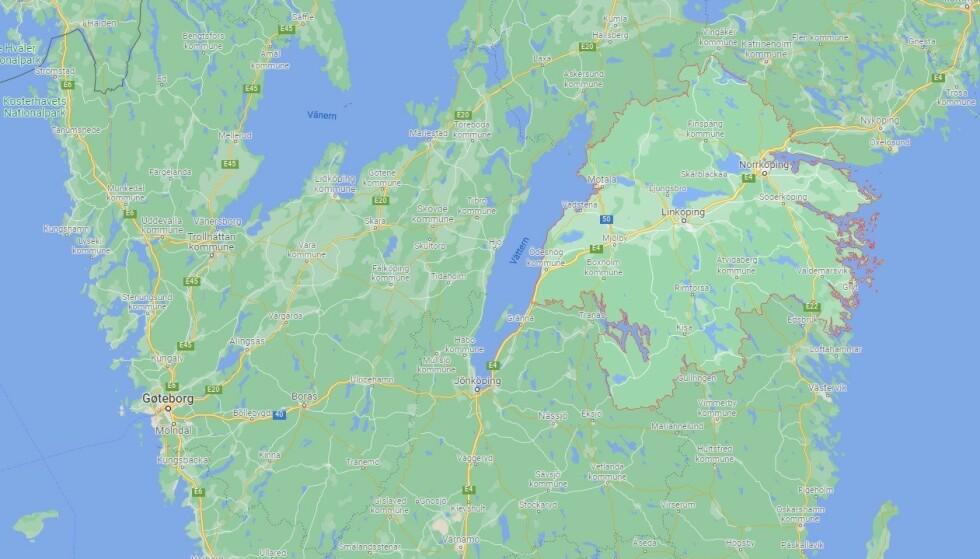 MULIG FALSK ANKLAGE: Svensk politi etterforsker mulig bortføring av influenser. Mannen ble funnet i Östergötland-området. Foto: Google Maps