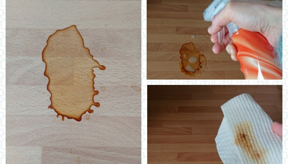 GOD EFFEKT: Malin hadde ingen problemer med å fjerne flekkene. Foto: Privat