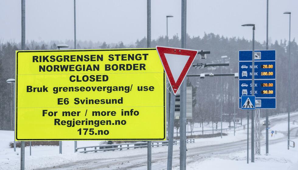 STENGT: Siden 29. januar er det bare samfunnskritisk personell som får krysse grensa ved Svinesund. Foto: Hans Arne Vedlog / Dagbladet