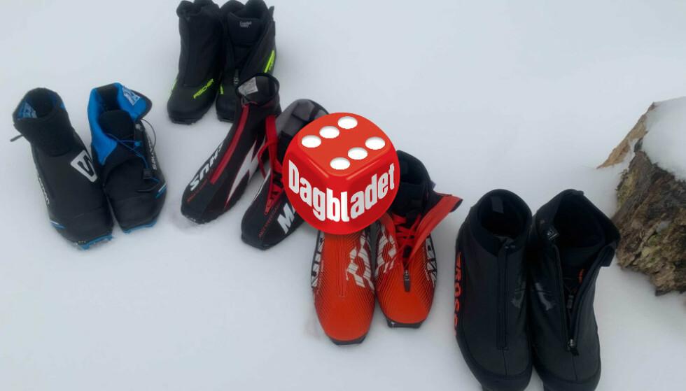 SKISKO-TEST: Dinside og Dagbladet Pluss har testet de fem skiskoparene grundig. Terningkastene går fra tre til seks. Foto: Eilin Lindvoll