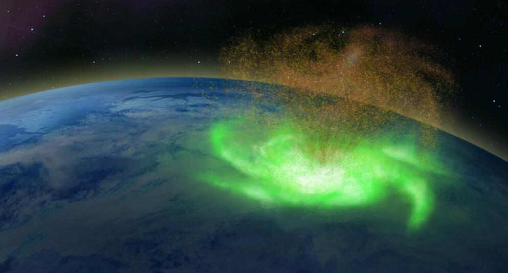 ROM-ORKAN: De kinesiske forskernes framstilling av det nyoppdagede fenomenet. Den gullbrune «skyen» er ladde partikler som «skytes» ned mot jordas magnetiske pol og skaper nordlysspiralen. Grafikk: Shandong-universitetet i Weihai