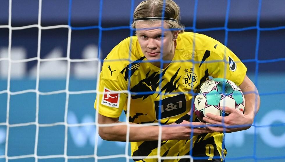 NESE FOR MÅL: Erling Braut Haaland scorer i nærmest hver eneste kamp han spiller i. Foto: AFP