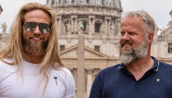 STOLT FAR: Matbergs pappa, Arne Johan Matberg, var ofte på plass i Roma da sønnen var med i og vant Skal vi danse. Nå vant han også «Farmen kjendis». Foto: Privat
