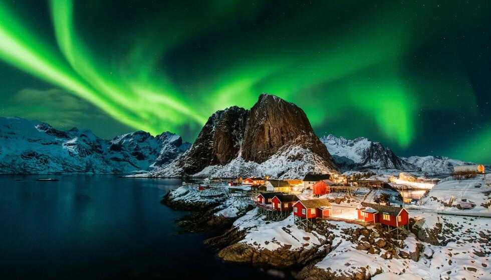 VAKKERT SKUE: Nordlyset oppstår høyt oppe i atmosfæren, og viser seg på bakkenivå som et spektakulært lysshow. Her fra Hamnøy i Lofoten. Foto: Piotr Krzeslak / Shutterstock / NTB