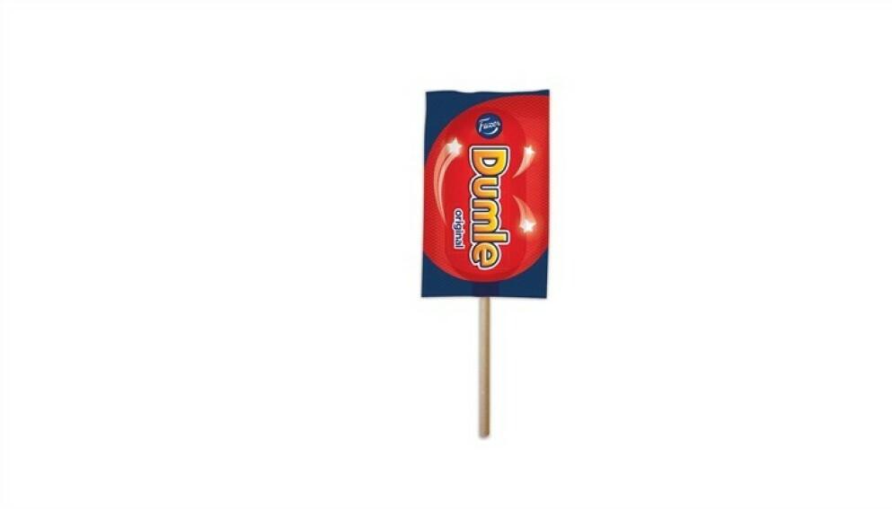 STOPPES: Nå har produksjonsselskapet bestemt seg for å stoppe produksjonen av Dumle-lollipopen. Foto: Fazer Konfektyr Dumle