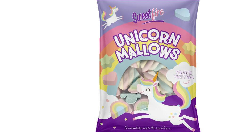 ENHJØRNINGER OG REGNBUER: Instavennlige marshmallows fra Sweetfire. Foto: Produsenten