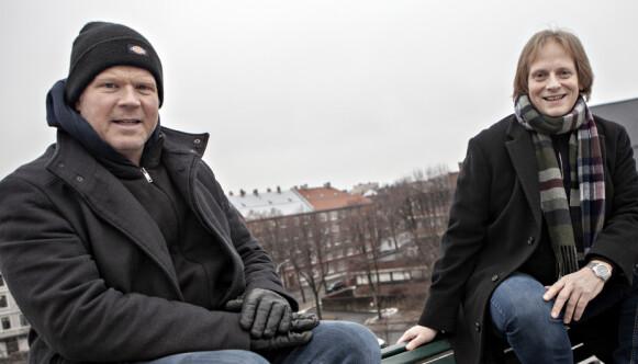 DET NORSKE: - Denne musikalen vil kle Det Norske Teatret, sier Anders Baasmo (t.v), som er med på albumet som med sanger fra musikalen «Himmel under hav, songar frå Underwater Bar» av Ragnar Bjerkreim. Foto: Anders Grønneberg