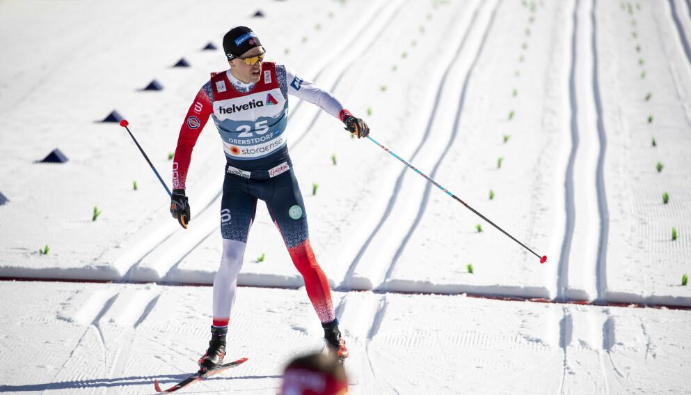 VRAKET: Pål Golberg i mål etter prologen på torsdagens sprint. Foto: Bjørn Langsem / Dagbladet