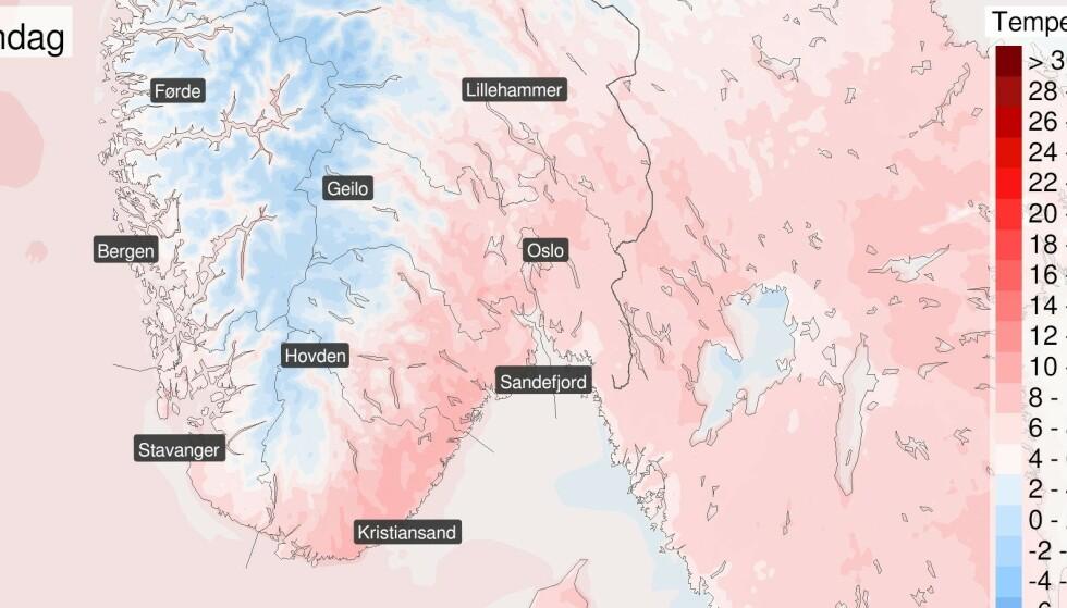SMAK AV VÅR: I helga kan det bli opp mot 10-12 grader visste steder. Foto: Meteorologisk institutt