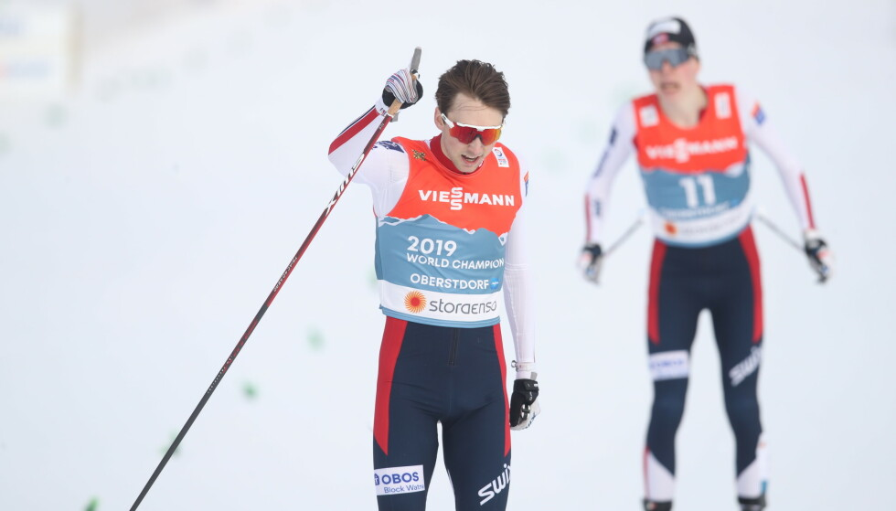 GULLVINNER: Jarl Magnus Riiber var overlegen i spurten. Foto: Bjørn Langsem / Dagbladet