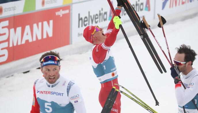 FORNØYD: Aleksandr Bolsjunov var godt fornøyd etter løpet. Foto: Bjørn Langsem / Dagbladet