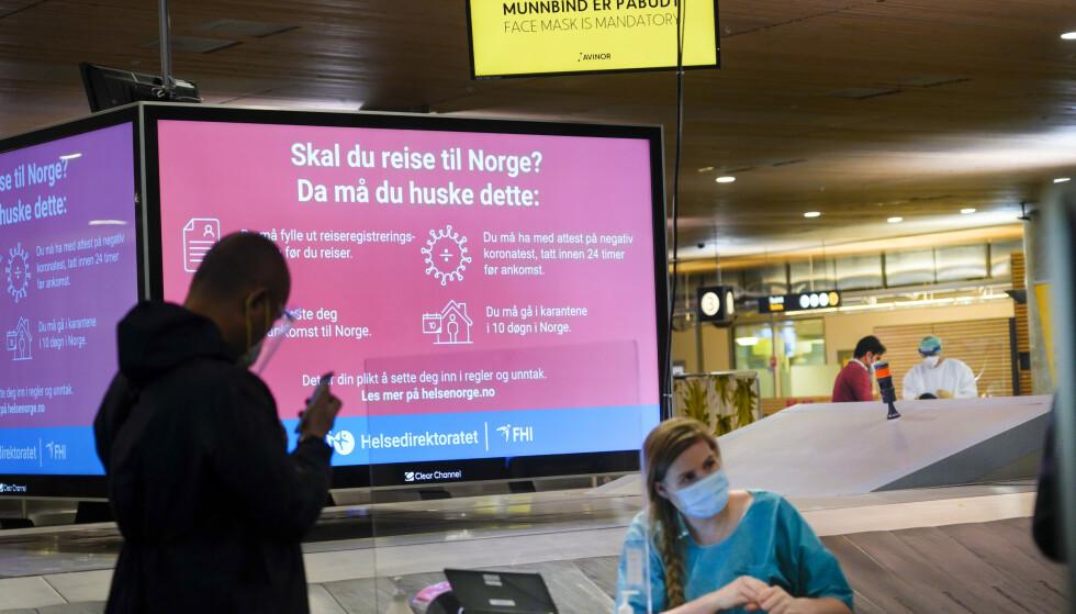 TESTING: Teststasjon på Gardermoen i slutten av januar. Foto: Heiko Junge / NTB