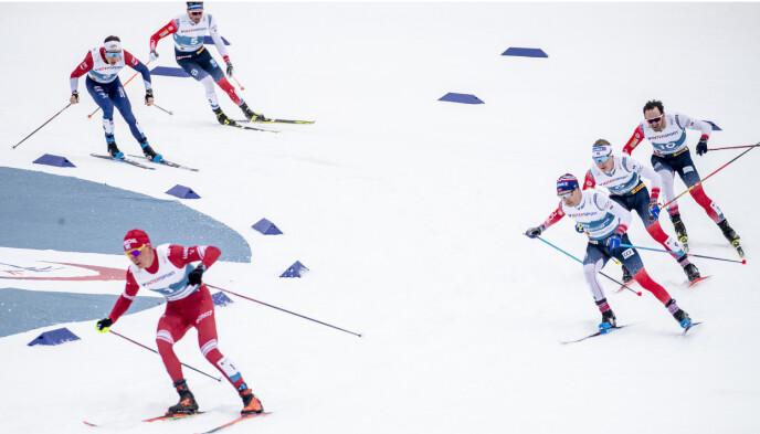 SLO ALLE: Nordmenne måtte seg seg slått av Aleksander Bolshunov. Foto: Bjørn Langsem