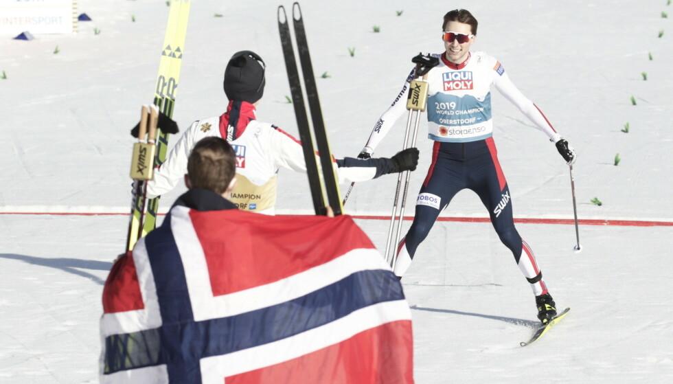 GULLGUTTER: De norske kombinertherrene var totalt overlegne i langrennsporet og vant gull. Foto: Bjørn Langsem / Dagbladet