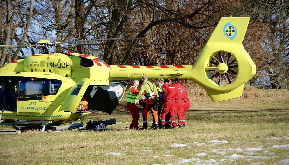 FLØYET TIL OSLO: Jenta ble fløyet til Rikshospitalet i Oslo med luftambulanse. Foto: Theo Aasland Valen