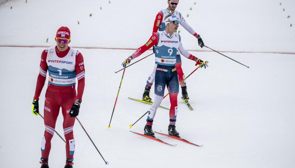 VARIABEL STEMNIG: Aleksandr Bolsjunov har både jublet og vært rasende så langt i ski-VM. Relasjonen til hans lagkamerater er variabel. Foto: Bjørn Langsem / Dagbladet