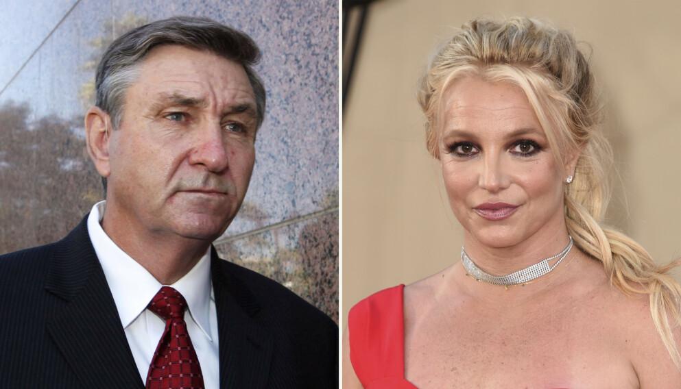 I RETTEN: Britney Spears møter onsdag i retten for å vitne om vergemålet faren, Jamie Spears (t.v.), har over henne. Foto: AP Photo
