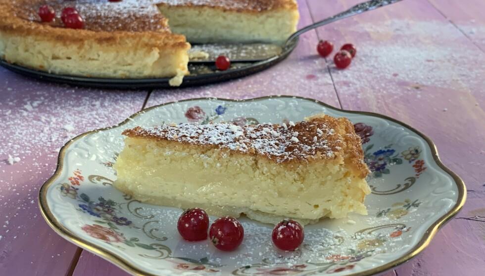 SUPERENKELT: Den amerikanske impossible pie lager du i blender på et par minutter. Foto: Elisabeth Dalseg