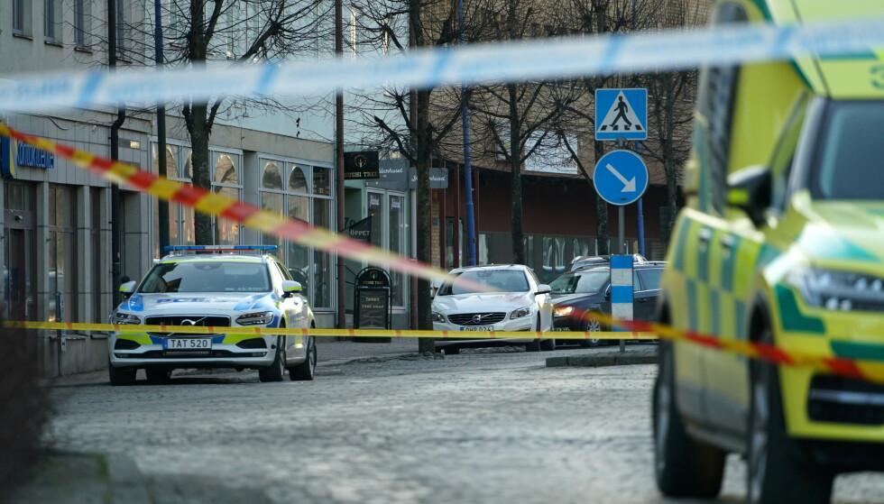 ANGREP: Politiet etterforsker et mulig terrorrelatert angrep i Vetlanda. Foto: Reuters / NTB