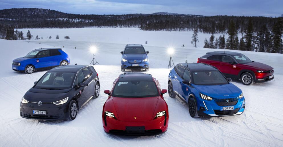 SEKS ELEKTRISKE: Denne gang har vi testet Volkswagen ID.3, Peugeot e-2008, Volvo XC40 Recharge P8, Porsche Taycan, Mazda MX-30 og Honda E. Foto: Antti Hentinen