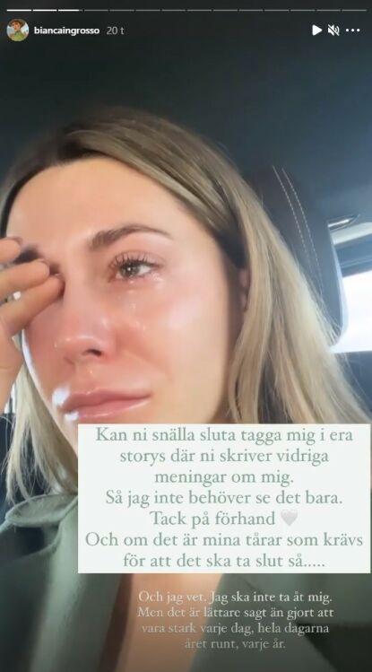 TÅREVÅT: Før hun valgte å logge av Instgram fredag la Bianca ut følgende melding. Foto: Skjermdump fra Instagram