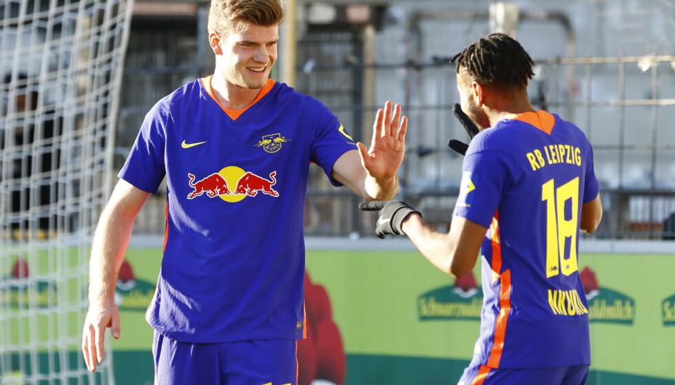I FORM: Alexander Sørloth er i storform for Leipzig om dagen. Foto: Reuters