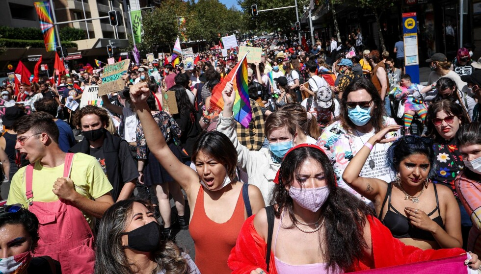 On the streets: Many gathered in the streets of Sydney and shouted about LGBT rights.  Photo: David Gray / AFP / NDP